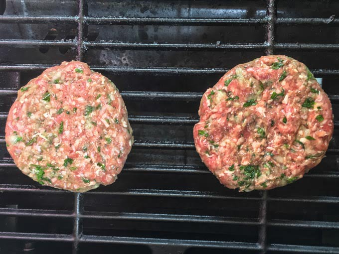 For a change of pace, try these grilled Middle Eastern lamb burgers. They make for a delicious low carb dinner as they are full of flavor and go well with a fresh garden salad. Each burger has only 1.8g net carbs per burger.