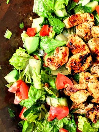 If you love fattoush salad but can't eat the bread, try this low carb Middle Eastern chicken salad. It has all the flavors of fattoush in both the chicken and the salad and is FULL of flavor. Perfect with fresh herbs and vegetables from the garden and only 5g net carbs per serving