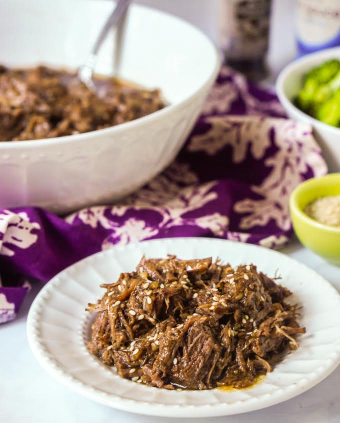 This low carb shredded Asian beef is a breeze to make in the Instant Pot. A versatile dish that you can eat over rice or cauliflower rice or as is. Only 1.1g net carb per serving!