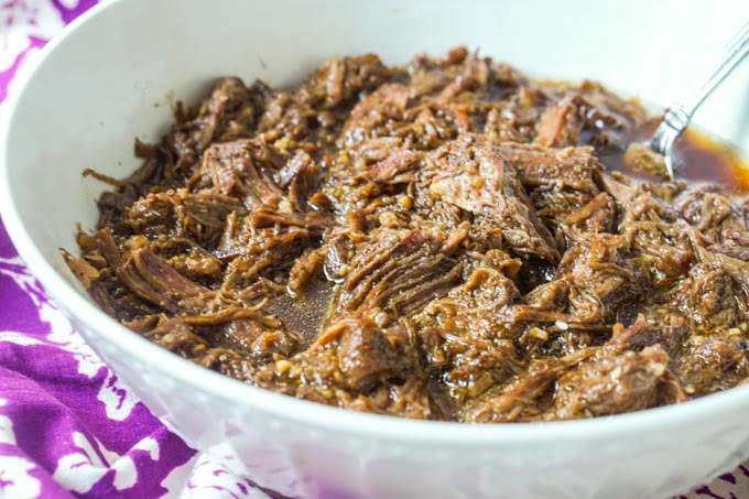 Low Carb Shredded Asian Beef in the Instant Pot (or slow cooker)