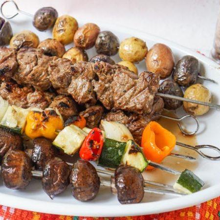 marinated steak kebab dinner - platter