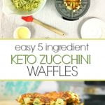 white plate and waffle iron with low carb zucchini waffles and text