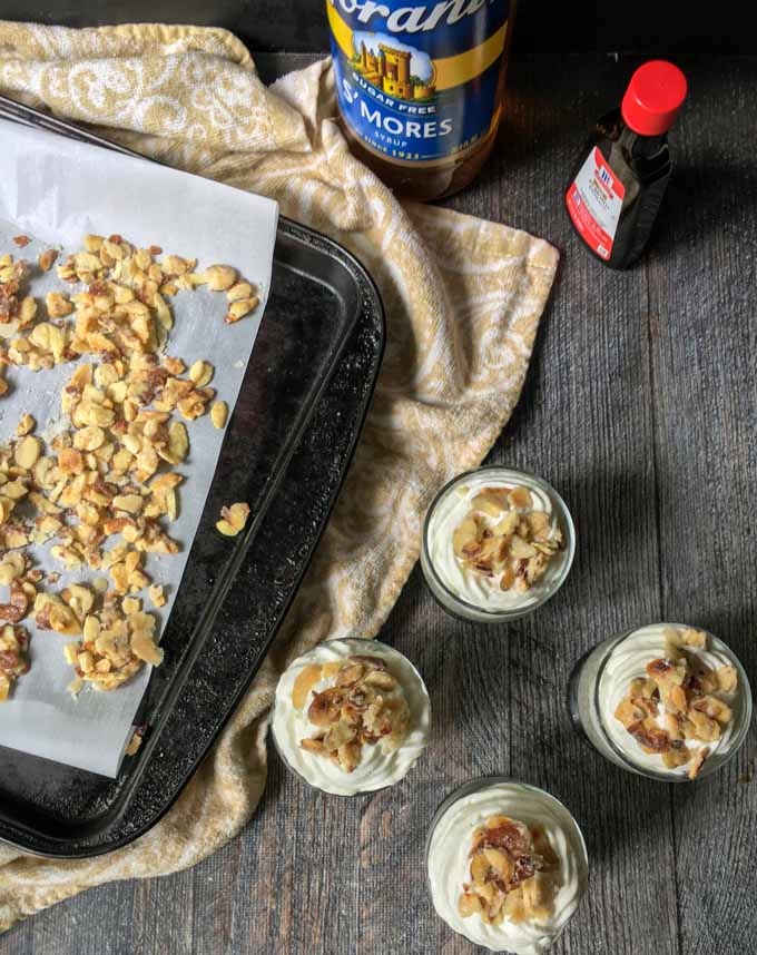 Try this burnt almond torte chia pudding and you won't feel denied on a low carb diet. Sugared almonds, creamy topping and that almond flavored chia pudding make for a delicious low carb dessert for only 2.5g net carbs!