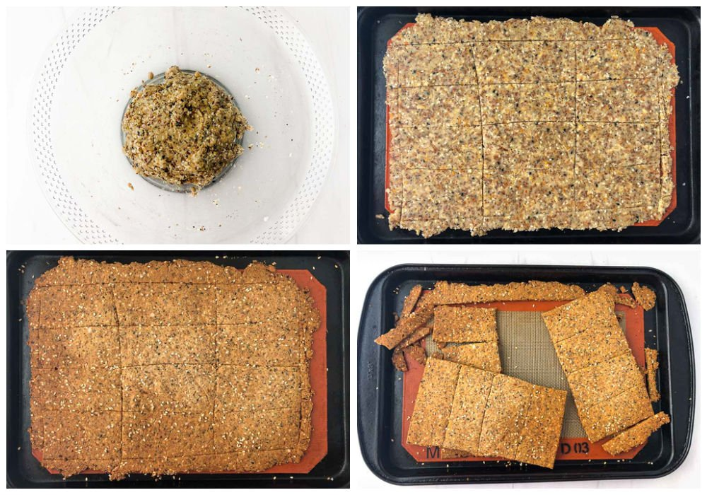 collage of steps to make the Norwegian crispbread