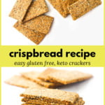 stack of keto crispbread with text