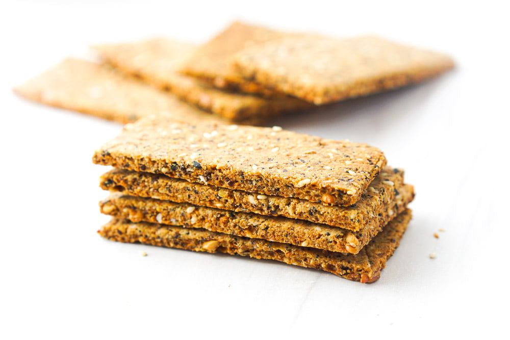 a stack of gluten fee homemade crackers
