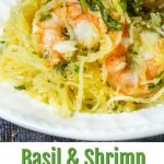 white plate with low carb shrimp spaghetti squash and text overlay