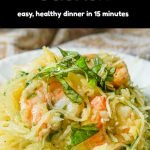 pan and white plate with garlicky keto shrimp spaghetti squash with text overlay