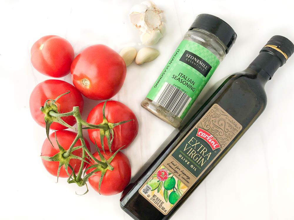 tomato sauce ingredients: olive oil, garlic, Italian seasonings, fresh vine tomatoes