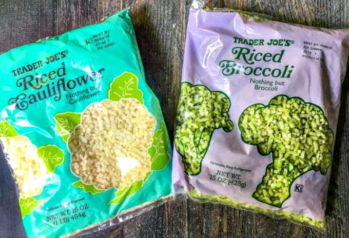 a bag of Trader Joe's riced cauliflower and a bag of rice broccoli