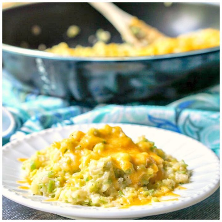 Cheesy Broccoli Cauliflower Rice #SundaySupper