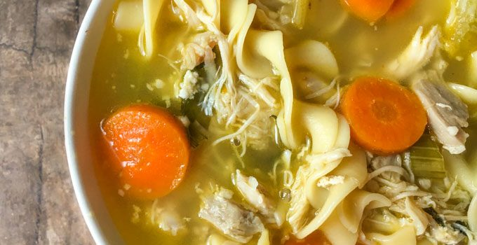 Chunky Chicken Soup in the Instant Pot – low carb version too!