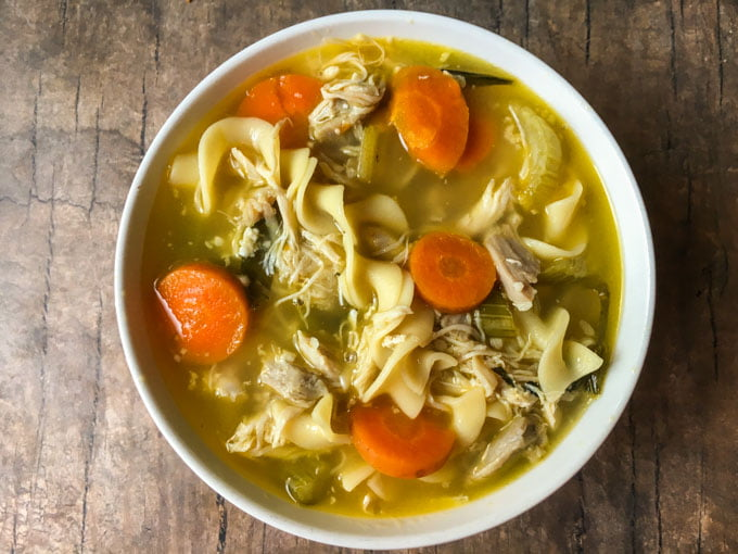 This chunky chicken soup in the Instant Pot is so full of flavor it is sure to be a family favorite. It's easy to make a big batch and then freeze for cold winter days.