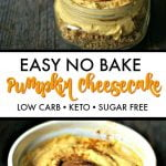 jars of keto no bake cheesecake with text overlay