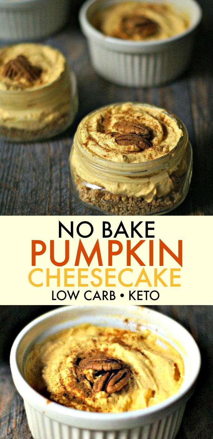 You have to try this no bake pumpkin cheesecake. You can enjoy all the deliciousness of a pumpkin cheesecake without the guilt. Low carb, no baking and only 4.9g net carbs per serving.