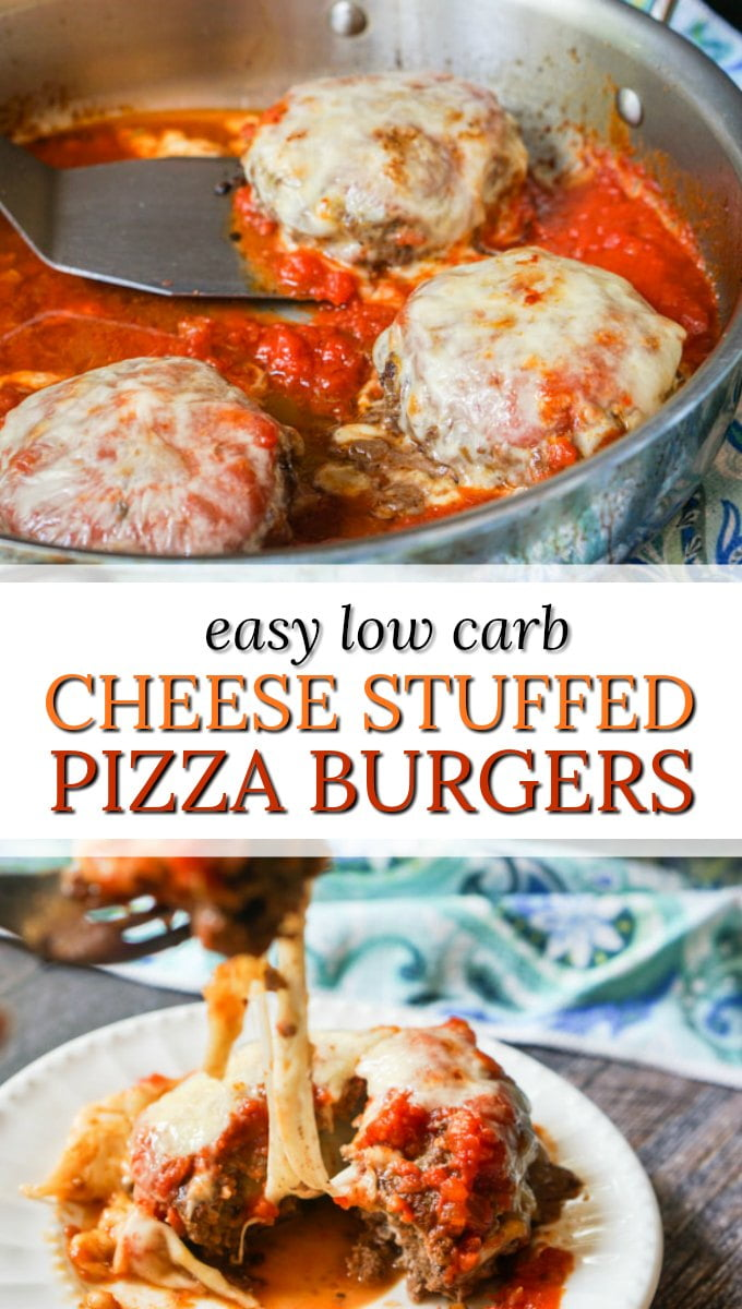 skillet with low carb stuffed pizza burgers and text