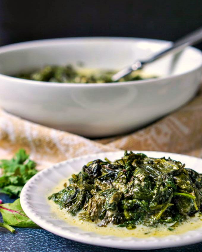 If you are looking for an easy low carb side dish, try this slow cooker greens Alfredo. Just a few ingredients to make this rich and creamy Alfredo sauce with a healthy dose of power greens. Only 4g net carbs per serving.