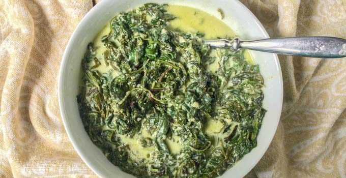 Slow Cooker Greens Alfredo – low carb side dish using power greens!