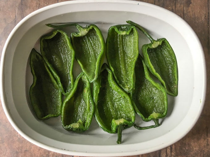 cut and cooked poblano peppers