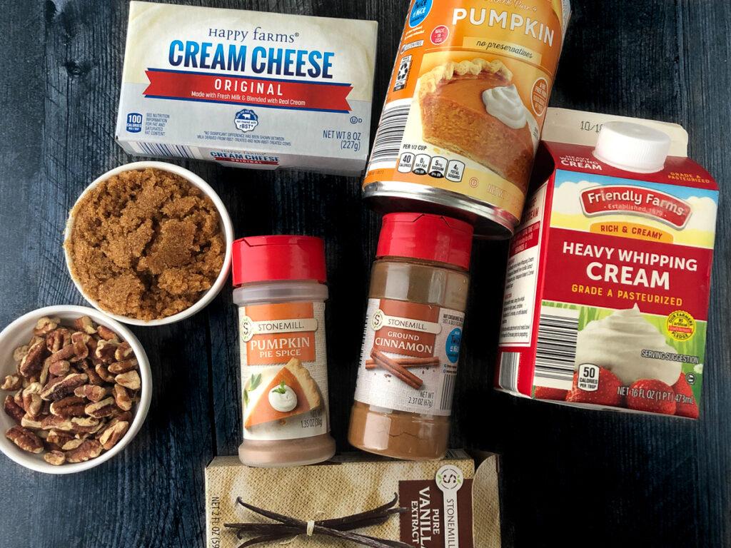 ingredients to make nob bake keto pumpkin cheesecake