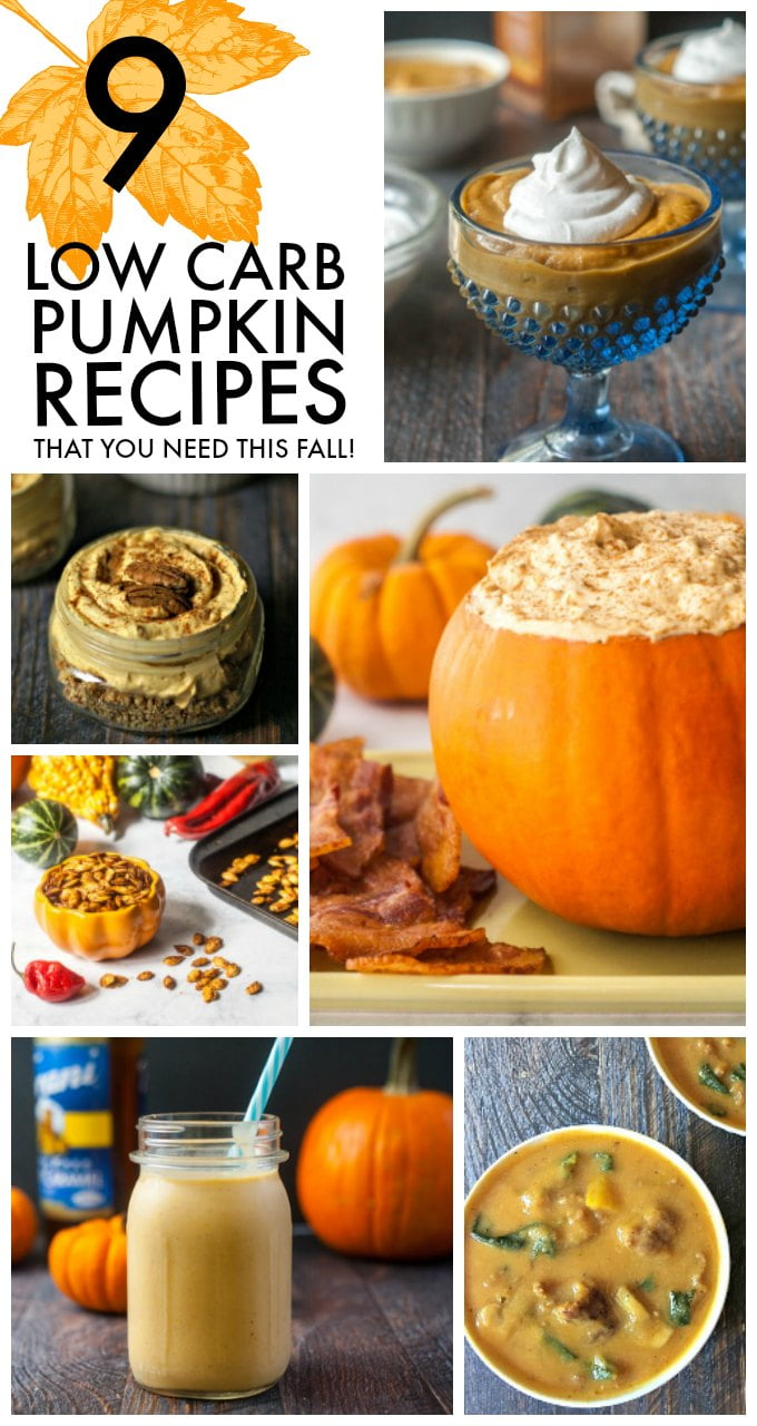 collage of 9 low carb pumpkin recipes with text overlay