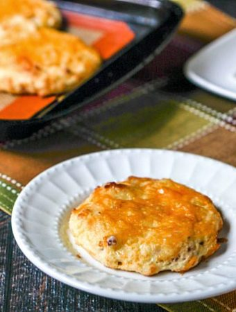 If you are looking for a grab and go, savory low carb breakfast look no further. These low carb bacon cheddar scones take only 20 minutes to make and are gluten free. Each scone only has 3g net carbs!