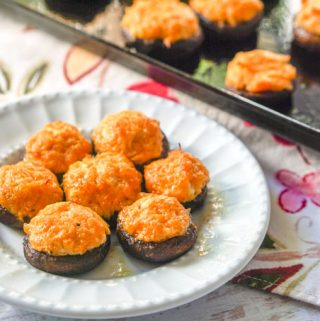 Buffalo Chicken Low Carb Stuffed Mushrooms – a keto appetizer or snack!