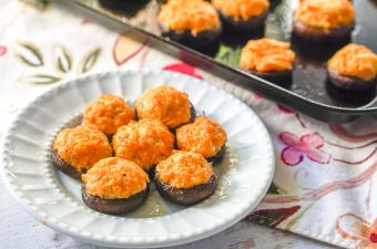 These buffalo chicken low carb stuffed mushroomsmake for a delicious low carb or keto appetizer for your next holiday or football party. You can even at these as a low carb snack or meal! Five stuffed mushrooms only have 3g net carbs!