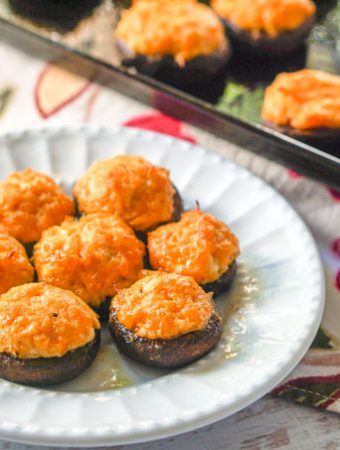 These buffalo chicken low carb stuffed mushrooms make for a delicious low carb or keto appetizer for your next holiday or football party. You can even at these as a low carb snack or meal! Five stuffed mushrooms only have 3g net carbs!