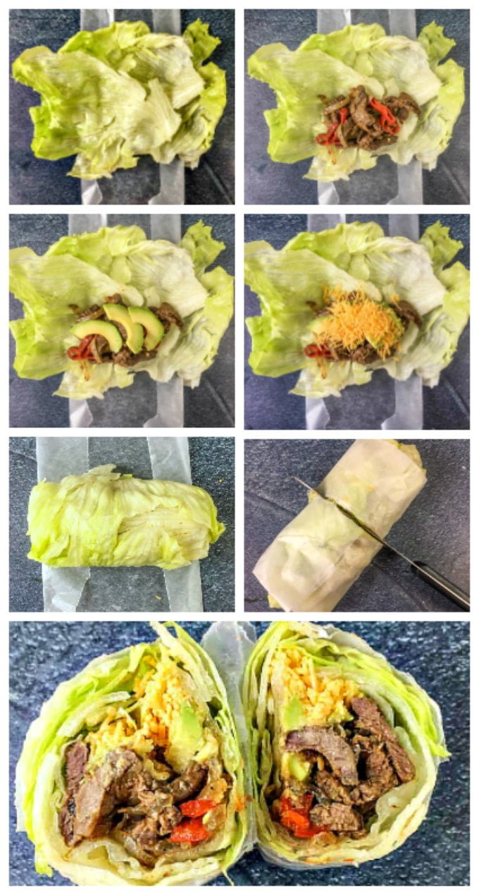 A low carb fajita burrito lettuce wrap is the perfect way to have your Mexican food on a low carb diet. All of those Mexican flavors wrapped up in a handheld lettuce burrito!
