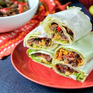 A low carb fajita burrito lettuce wrap is the perfect way to have your Mexican food on a low carb diet. All of those Mexican flavors wrapped up for a handheld lettuce burrito!