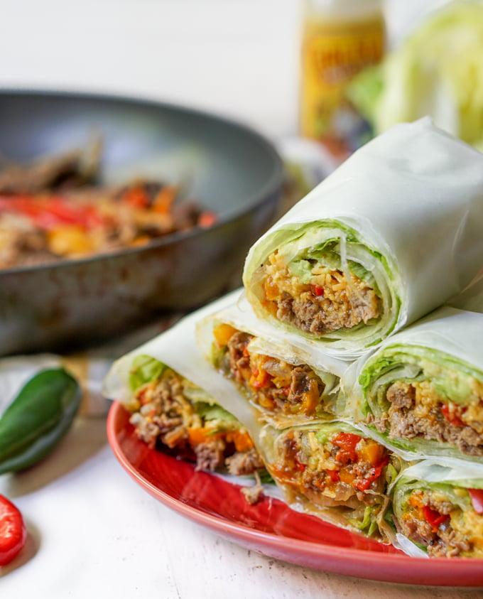 Fajita Burrito Lettuce Wraps