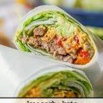 closeup of low carb lettuce wrap