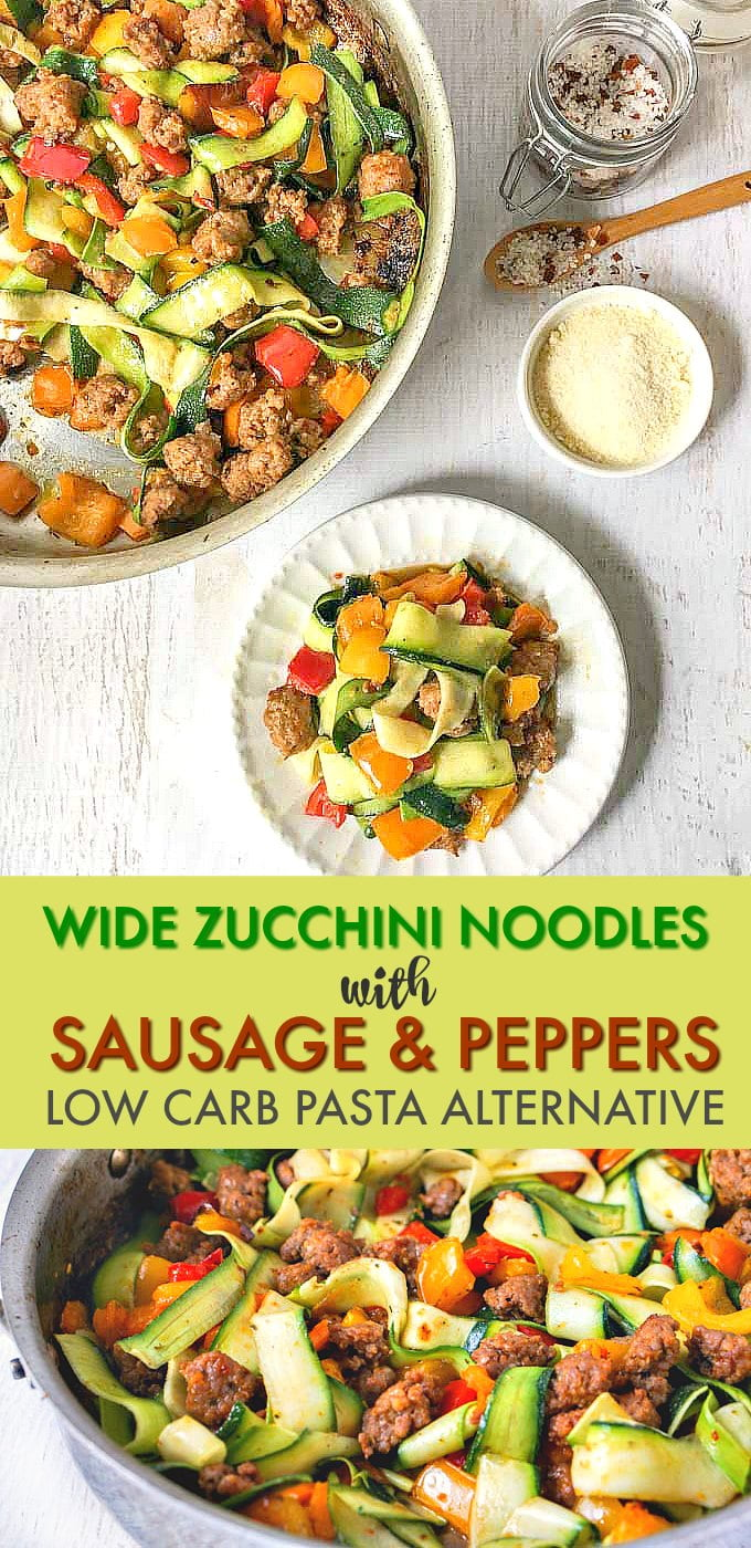 This meal of wide zucchini noodles with sausage & peppers is a delicious and easy low carb pasta dish for any day of the week. One serving has 196 cals and 6.4g net carbs.