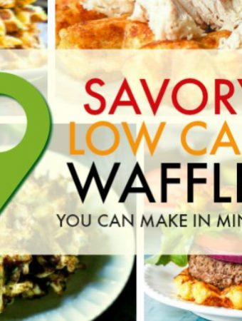 These 9 savory low carb waffles take on a few ingredients and you can make them in minutes! Pull out that waffle maker and start experimenting. Great when frozen too for a grab and go low carb breakfast or snack!