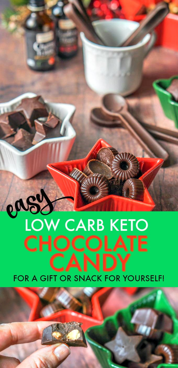 This low carb keto chocolate candy is the easiest thing to make. Just a few ingredients and you can make a tasty low carb Christmas gift or snack while on a low carb diet. Each chocolate candy has only 0.3g net carbs.