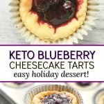mini blueberry keto cheesecake with text overlay