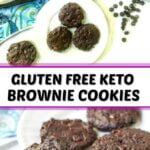 white plate and cookie sheet with chocolate keto brownie cookies and text overlay
