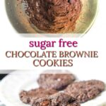 white plate with chocolate keto brownie cookies and mixing bowl with batter and text overlay
