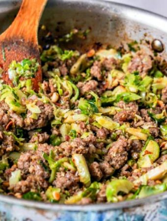 If you are looking for an easy low carb breakfast, lunch or side dish, try this sausage & Brussels sprouts hash. Only a few ingredients and you can make this tasty savory dish. Only 5.8g net carbs per serving.