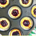 mini blueberry keto cheesecakes in muffin tins with text overlay