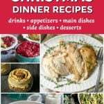 collage of low carb holiday dishes with text overlay
