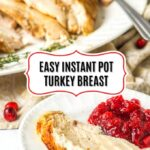 white platter with sliced turkey and a large fork and thyme sprigs with text overlay