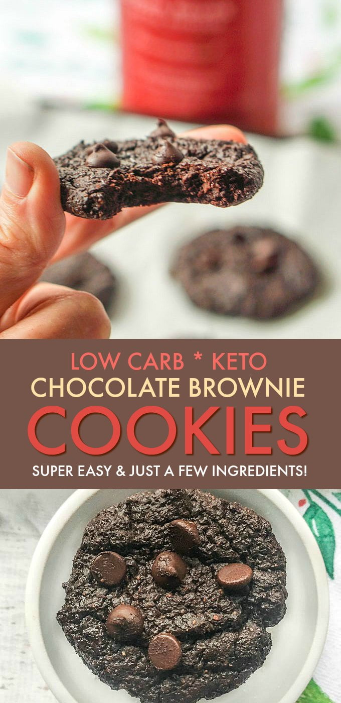 Plate of chocolate keto cookies and text overlay and hand holding a cookie.