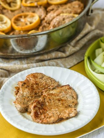 This skillet dinner of lemon butter pork tenderloin is very easy to make and full of flavor. The meat is so tender and the lemon butter sauce is bright and tangy. Each serving has only 1.3g net carbs!