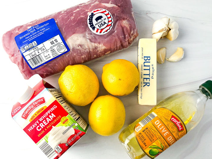 ingredients for this recipe: raw pork tenderloin, butter, lemons, garlic cloves, heavy cream and olive oil