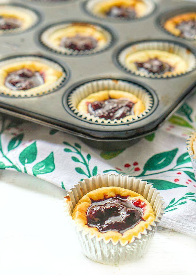 a silver foiled mini cheese cake with a muffin tin in the background