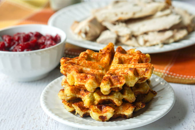 Low Carb Turkey Stuffing Waffles with Thanksgiving Leftovers!