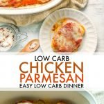 This low carb chicken parmesan dinner is so easy and delicious you will want to make it every week. Only a few ingredients and you can make this gluten free chicken dinner that has 4.3g net carbs per serving.