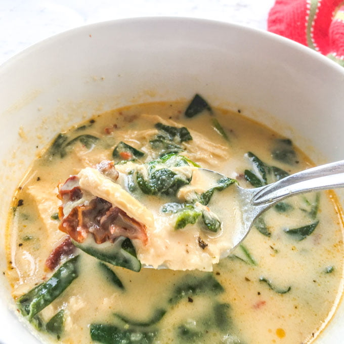 This creamy sun dried tomato chicken soup is so rich and delicious. If you are looking for a very satisfying low carb or keto soup, you've got to try this one. Each serving is only 6.6g net carbs!